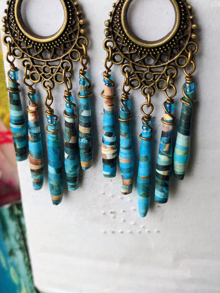 JoHa Dsigns - Handcrafted Renoir Paper Bead Chandelier Earrings