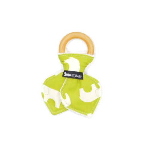 Wood Teething Ring - Green Elephant