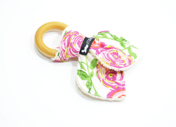 Floral Rose Wood Teething Ring