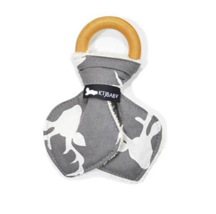 Gray Deer Wood + Cotton Teether