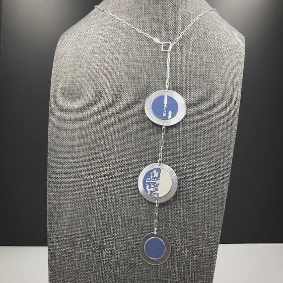 Sal'vij - Handcrafted Repurposed Blue Triple Disc Necklace