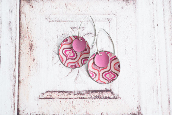 Sal'vij-Handcrafted Repurposed Pink Mod Earrings