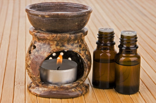 Cedarwood essential oil in an oil burner