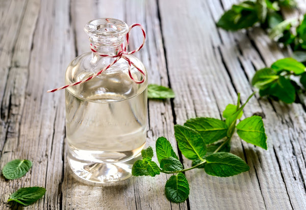A clear bottle sits on a wooden table with oil in it surrounded by peppermint leaves