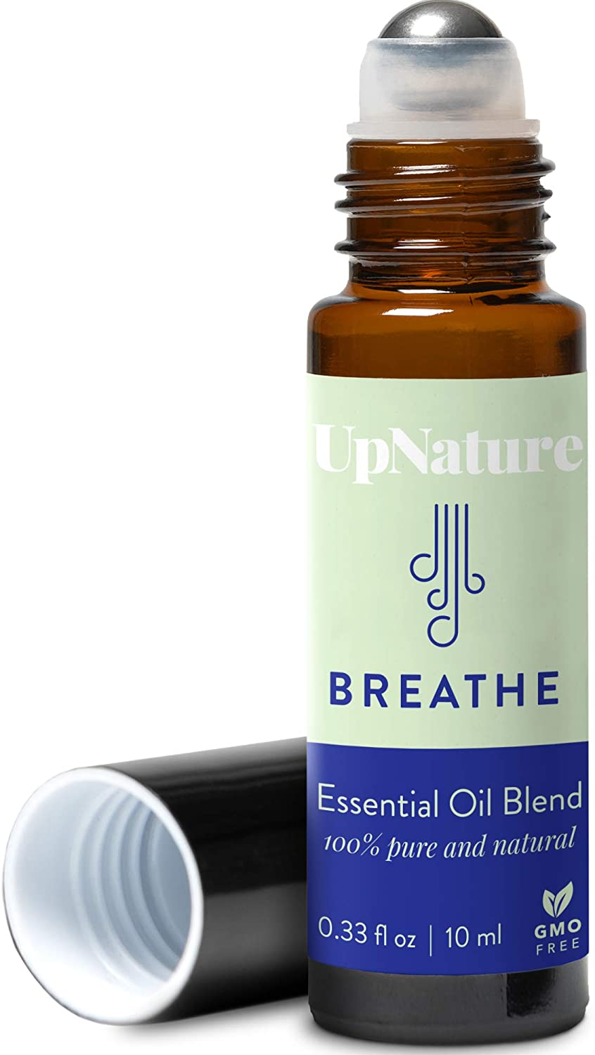 Breathe Essential Oil Blend Roll-On - Peppermint & Eucalyptus Oil Blend - Breathe Easier - Allergy & Sinus Relief Roller - Quality Leak-Proof Rollerball - No Diffuser Needed!