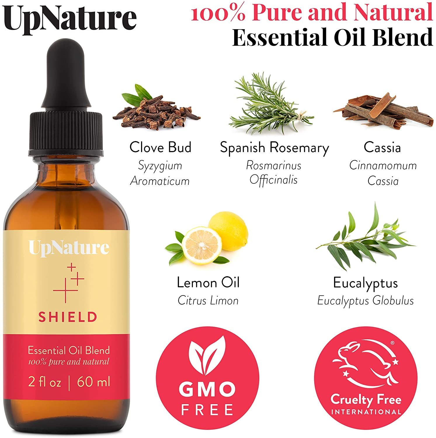 Shield Essential Oil 2 OZ – Boost Natural Defenses, Soothe Cough Symptoms, Germ Fighter, DIY Natural Hand Soap -Therapeutic Grade, Undiluted, Non-GMO, Aromatherapy with Dropper