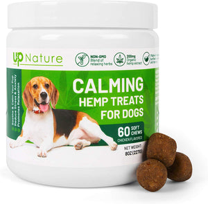 UpNature Hemp Dog Treats, Hemp Chews for Dogs, Calming Treats for Dogs, Anxiety & Stress Relief for Dogs, Dog Calming Aid, Composure Chews for Dogs, Made in The USA