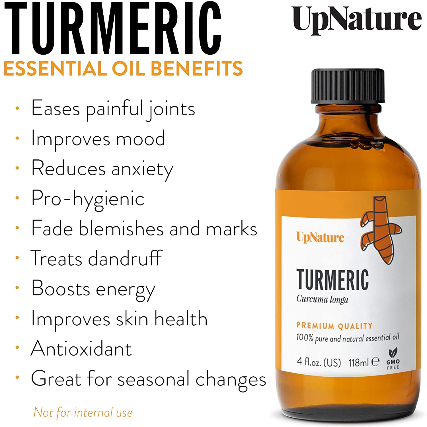 Turmeric Essential Oil 4 OZ - Turmeric Oil for Skin & Face - Great for Hair Growth, Eczema, Acne, Aging - Boosts Natural Defenses - Non-GMO, Pure, Undiluted & Strong!
