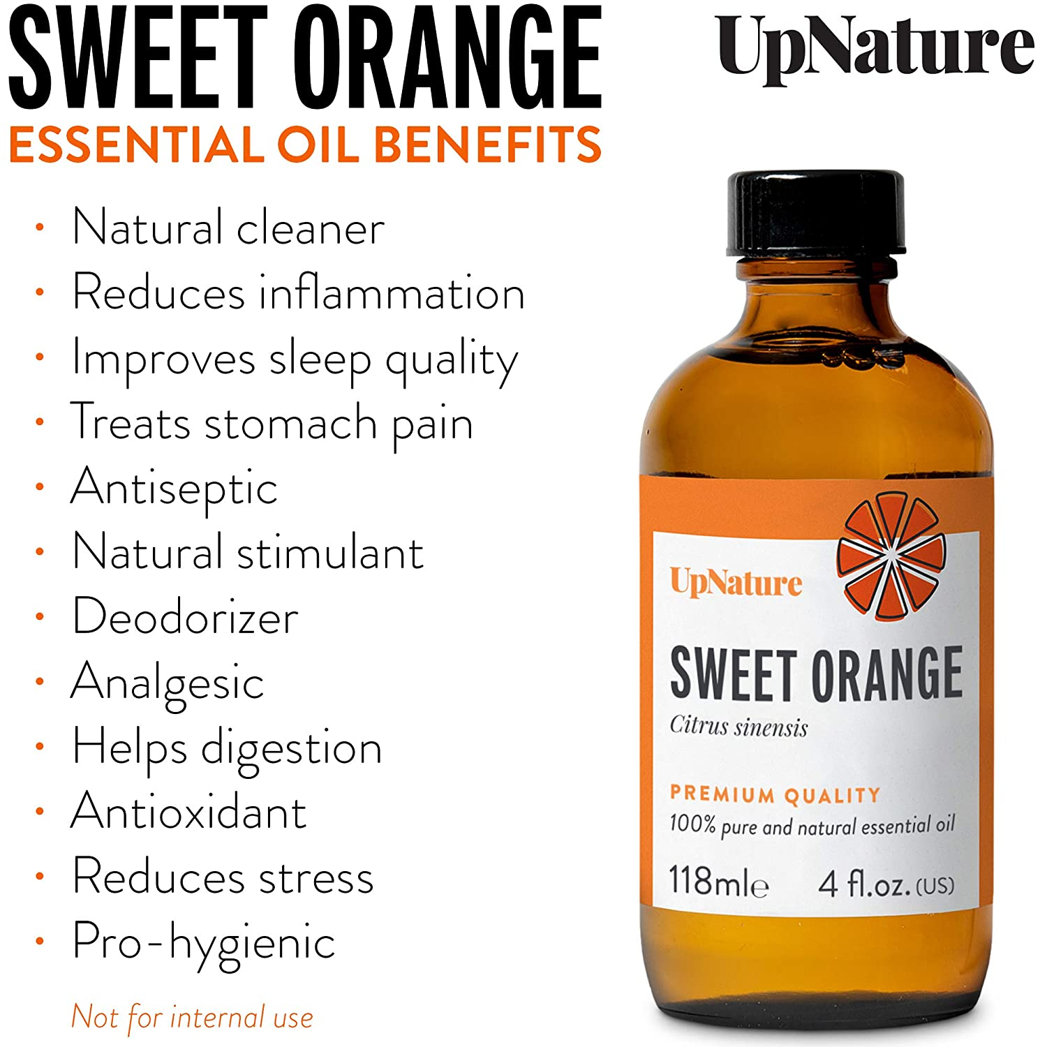 Orange Essential Oils 4 OZ - Pure Sweet Orange Oil, Therapeutic Grade, Undiluted, Non-GMO - Sweet Orange Oil for Skin, Mood Boosting and Calming