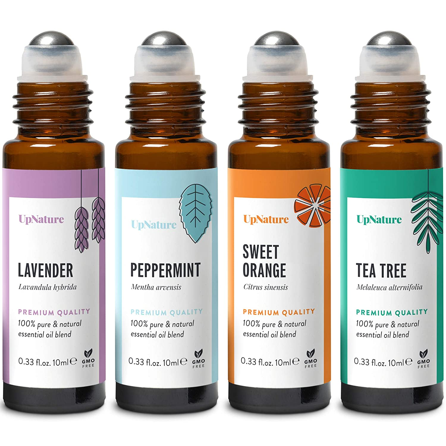 Classics Essential Oil Rollerball Set - Lavender, Tea Tree, Sweet Orange, Peppermint - Ready to Use Roll-On, Pre-Diluted, Aromatherapy, Therapeutic Grade – Perfect Stocking Stuffer!