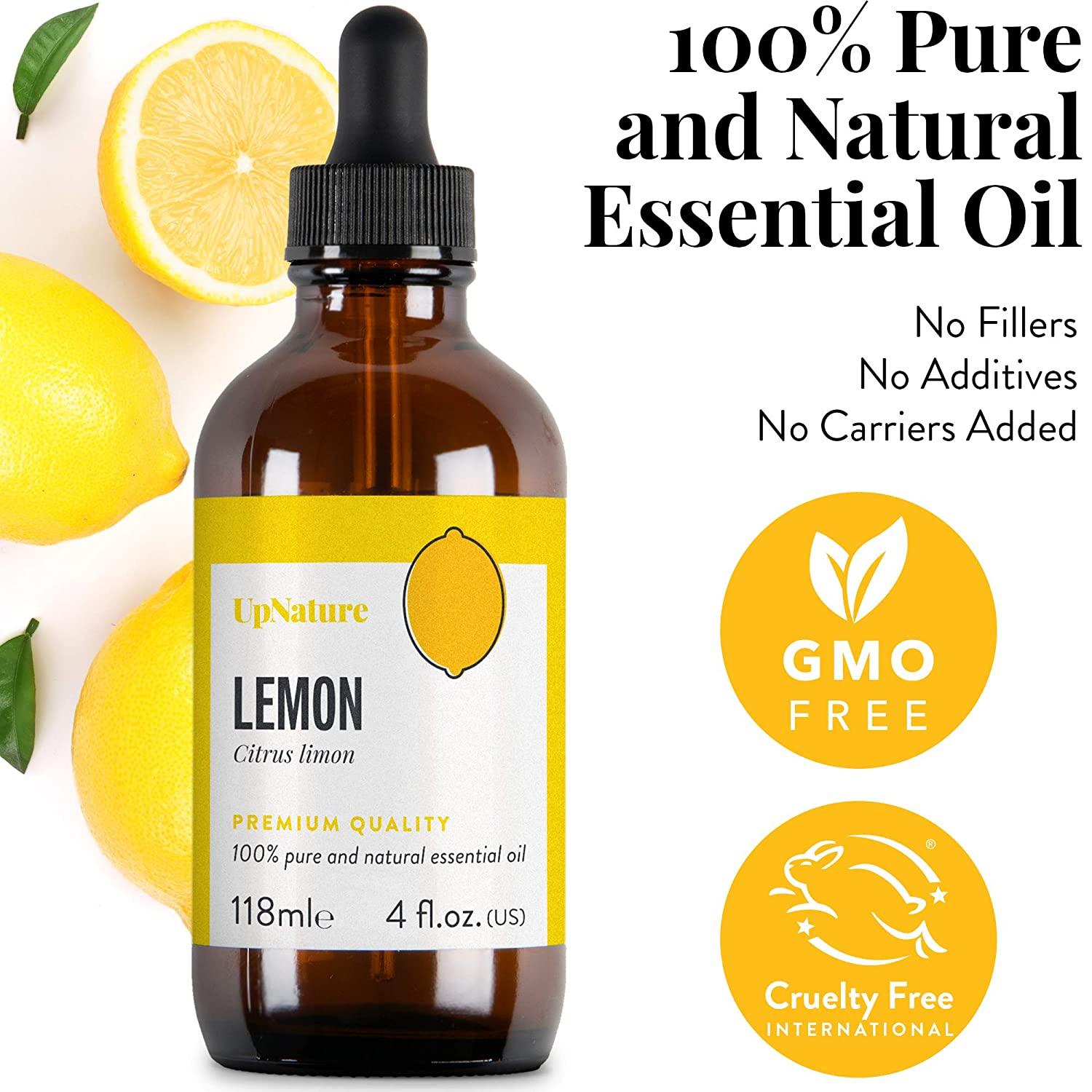 Lemon Oil Essential Oil 4 OZ – Pure Lemon Oil - Lemon Oil for Skin and Hair, Energy Boost, Focus, Motivation, DIY Natural All Purpose Cleaner - Therapeutic Grade, Undiluted, Non-GMO, Aromatherapy