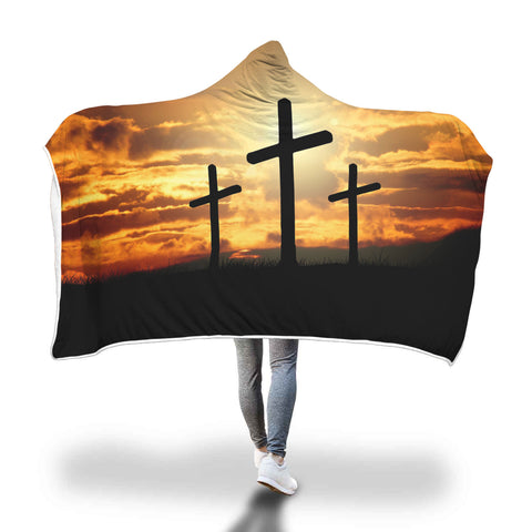 Christian Crosses Sunrise Background Hooded Blanket