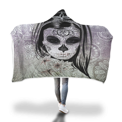 Dark Skull Girl Hooded Blanket Gothic Wearable Sherpa Blanket