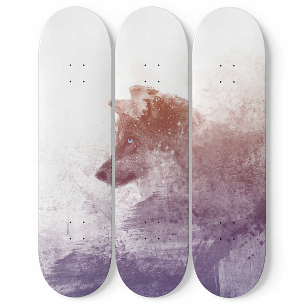 Wolf Wall Art Decor 3-Piece Skateboard Watercolor Effect Design Wolves Lover For Bedroom or Office
