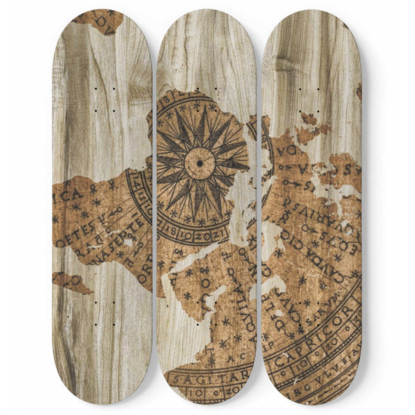World Map Wall Art 3-Piece Skateboard Home Decor Vintage Design Bedroom, Living Room Decoration Gift