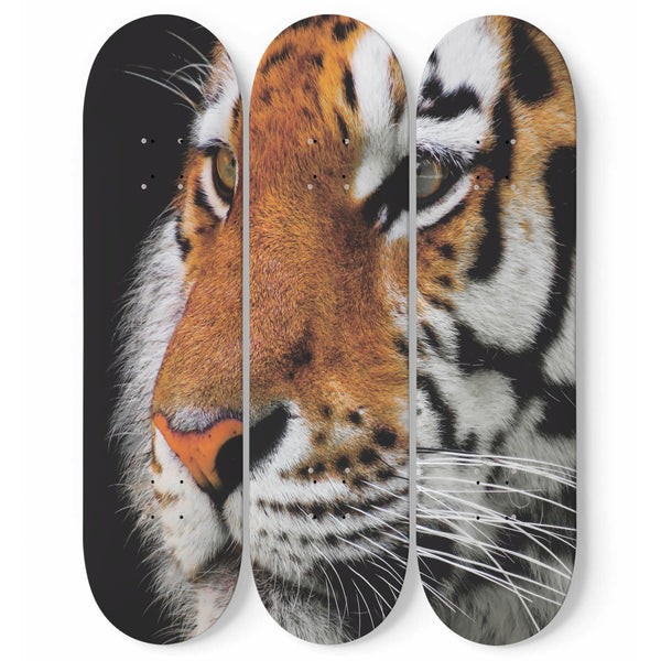 Tiger Wall Art Decor 3-Piece Maple Wood Skateboard Interior Decoration For Bedroom, Living Room, Housewarming Gift