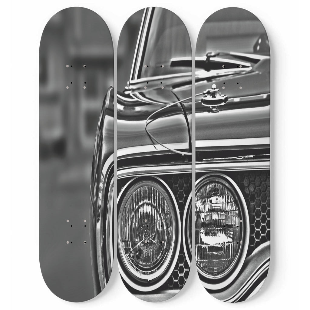 Vintage Car Wall Art 3-Piece Maple Wood Skateboard Decor Black And White Interior Room Decoration Gift