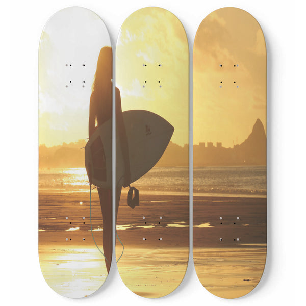 Surfer Wall Art Decor Surfing Beach Lover 3-Piece Skateboard Interior Room Decoration Housewarming Gift
