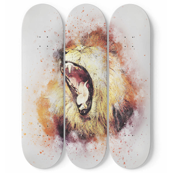 Lion Roar Wall Art Decor Fierce Animal 3-Piece Skateboard Maple Wood Watercolor Interior Room Or Office Decoration Gift