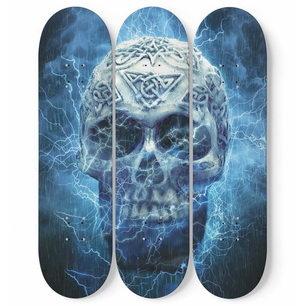 Skull Skateboard Wall Art Decor Gothic Design 3-Piece Maple Wood Interior Room Accent Wall Decoration Home Gift