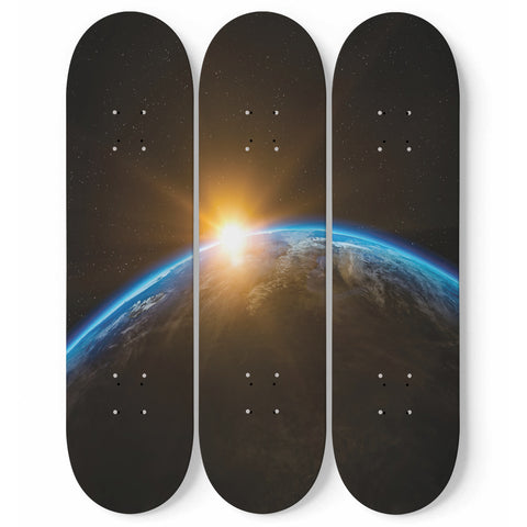 Earth Skateboard Wall Art Decor Sunrise Outer Space Sophisticated Hanged Interior Room Decoration Gift
