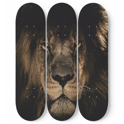 Lion Skateboard Wall Art Decor 3-Piece Deck Set Maple Wood Room Decoration Gift For Bedroom, Office, Living Room
