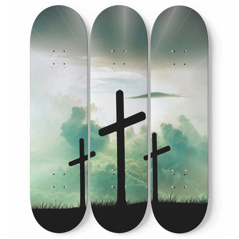 Cross Skateboard Wall Art Decor Calvary Golgotha 3-Piece Set Religious Christian Faith Gift Walls Accent Decoration For Prayer Rooms, Chapels