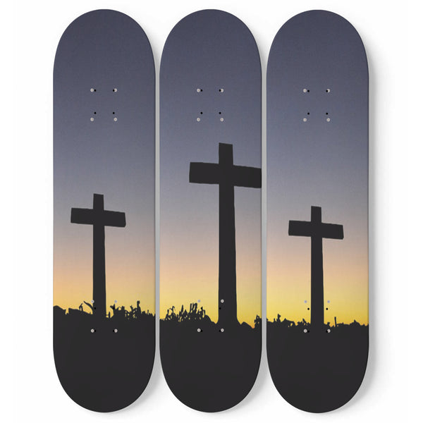 Cross Skateboard Wall Art | Calvary Golgotha | 3-Piece Maple Wood | Religious Christian Faith Gift | Walls Accent For Prayer Rooms, Chapels