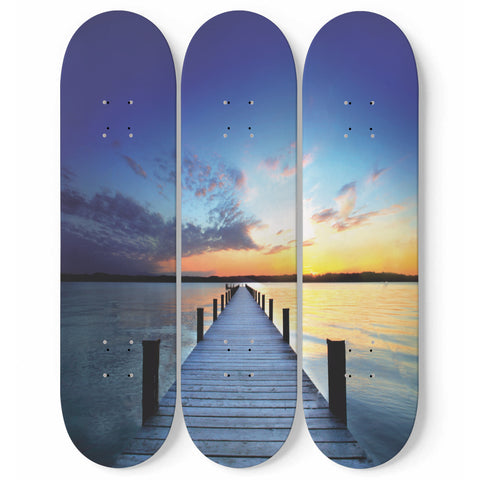 Sunrise Lake Skateboard Wall Art Decor 3-Piece Maple Wood Deck Set Decoration For Bedroom, Living Room, Home Interior