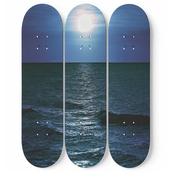 Full Moon Sea Skateboard Wall Art Set Of 3 | 3 Piece Wall Art Prints | Tropical Photo On Wood | Wood Wall Panel | Interior Home Decoration | Modern Room Decor