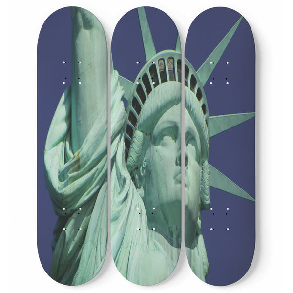 Statue Of Liberty Skateboard Wall Art Set Of 3 | New York Photo On Wood Wood Wall Panel | 3 Piece Wall Art Print | Interior Home Decoration