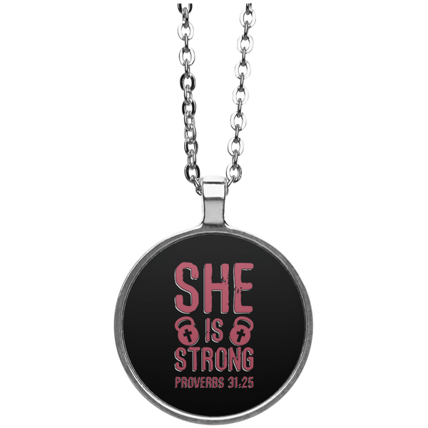 She is Strong Kettlebell Proverbs Necklace