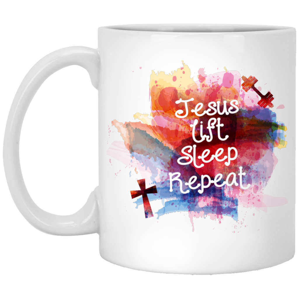 Jesus Lift Sleep Repeat | Exercise Christian Workout Mug