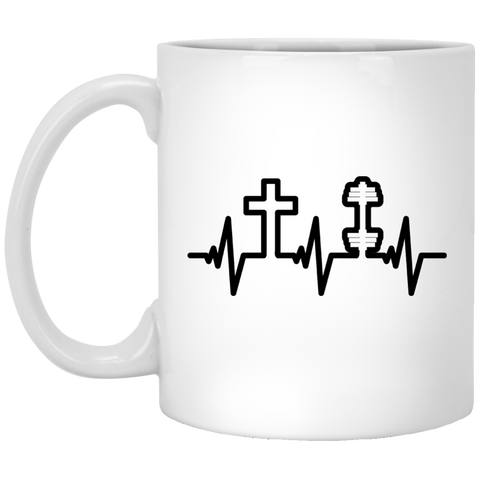 Jesus and Fitness Heartbeat White Mug