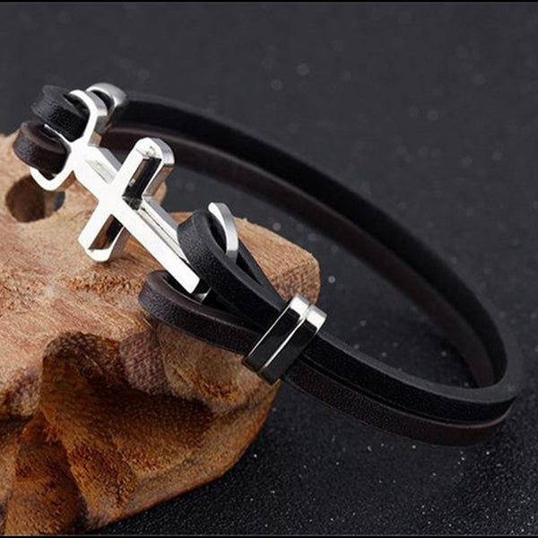 Unisex Christian Cross Leather Bracelet