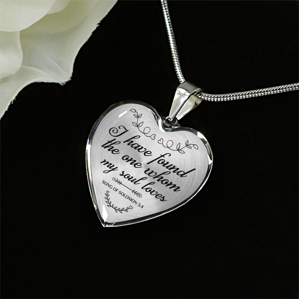 Christian Bible Verse Silver Heart Necklace Luxury Gift