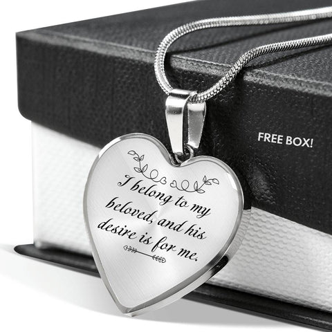 I Belong To My Beloved, and His Desire Is For Me Heart Necklace Silver Pendant