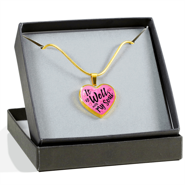 Christian Religious 18k Gold Heart Necklace Luxury Gift