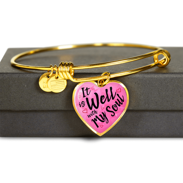 Christian Religious Gold Heart Bangle Luxury Gift