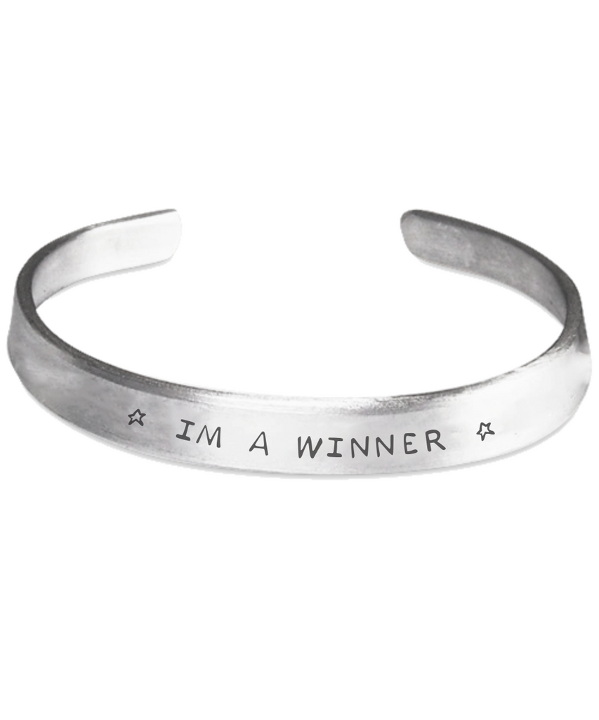 Motivational Winner Cuff Stamped Bracelet Gift