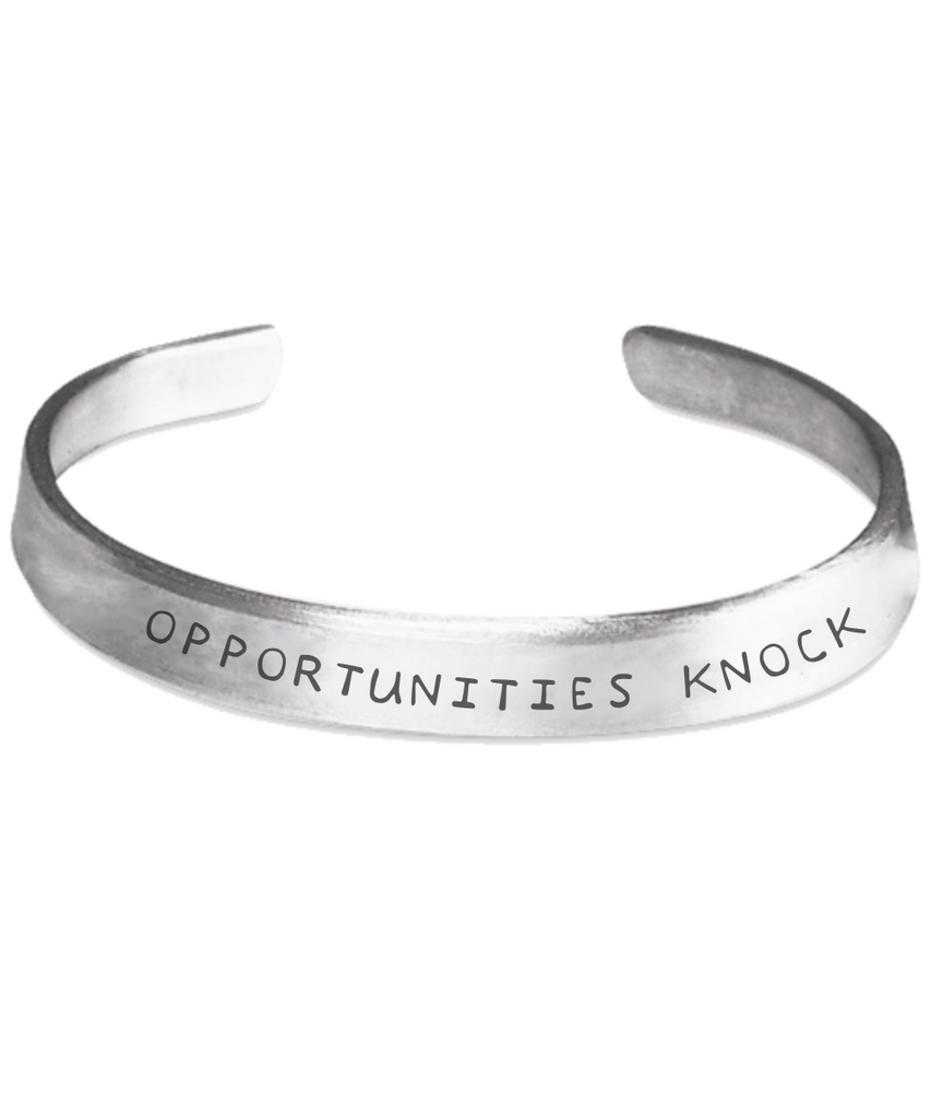 Motivational Gift Silver Cuff Stamped Bracelet Unisex Jewelry | Opportunities Knock