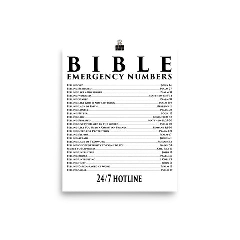 Bible Emergency Numbers Poster