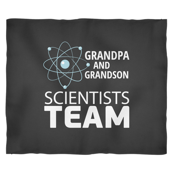 Science Lovers Fleece Blanket Gift | Grandpa and Grandson Scientists Team