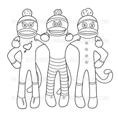 Sock Monkey Best Friends Trio