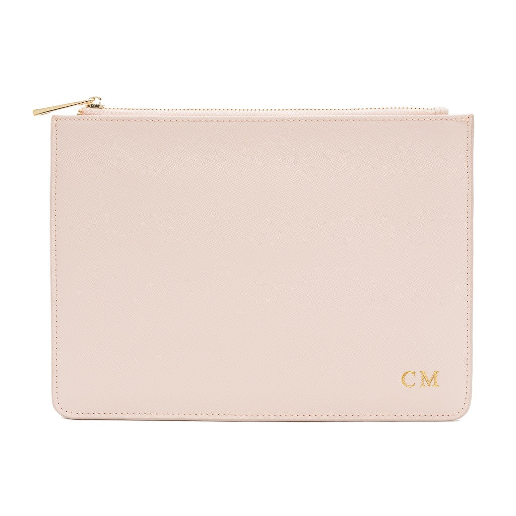 Pink Saffiano Clutch Bag