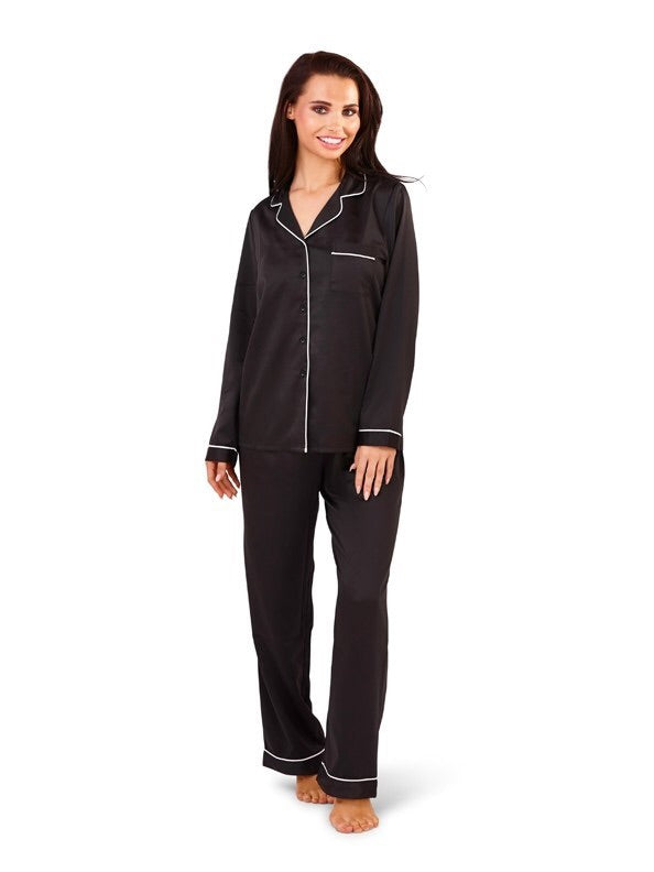 Black Satin Style Pyjama Trouser Set