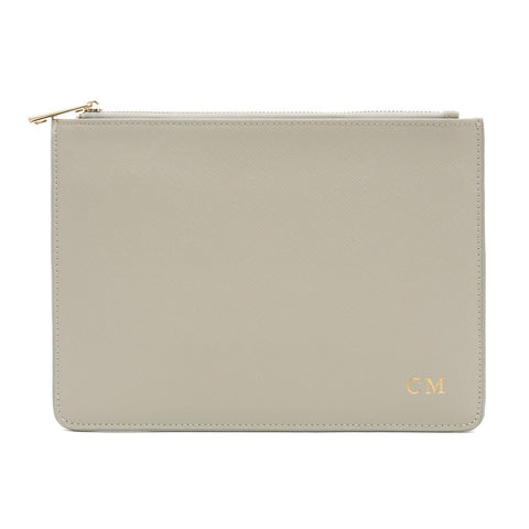 Grey Saffiano Clutch Bag