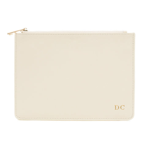 Cream Saffiano Clutch Bag