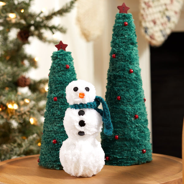 Snowman and Pine Trees