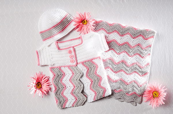 Baby Chevron Cap and Cardi